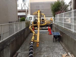 神戸市東灘区「魚崎の家」基礎のベースコンクリートを打設しました