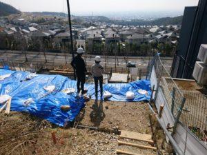 『宝塚 山手台の家』では本日、地中梁とベースコンクリート打設です