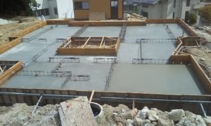 芦屋市H町新築工事にて本日、ベースコンクリートの打設を行いました!
